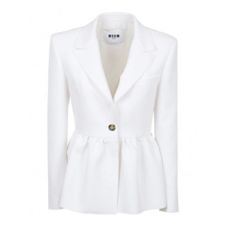 Women's Clothing MSGM Spring Summer 2021 single-breasted blazer in white Size Wide fit Sale EQFQ876
